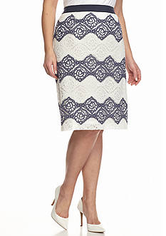 Nine West Plus Size Lace Zigzag Skirt