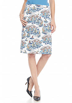 Nine West Printed Linen Skirt