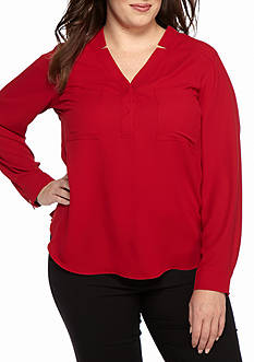 Nine West Plus Size Long Sleeve Split Neck Blouse