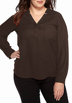 Nine West Plus Size Long Sleeve Y Neck Blouse