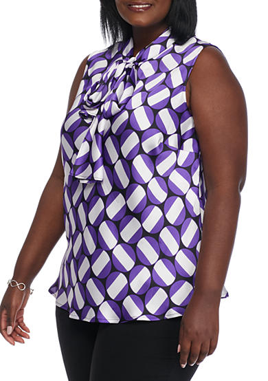 Nine West Plus Size Print Tie Neck Tank