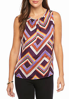 Nine West Sleeveless Print Blouse