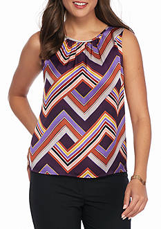 Nine West Print Sleeveless Blouse