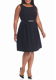 Nine West Plus Size Belted Dress
