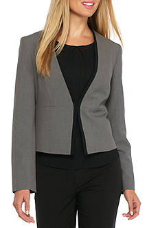 Nine West Open Front Jacket With Contrasting Trim