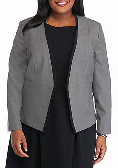 Nine West Plus Size Open Front Jacket With Contrasting Trim