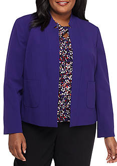 Nine West Plus Size Open Front Jacket