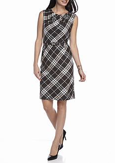 Nine West Plaid Matching Fabric Belt Dress