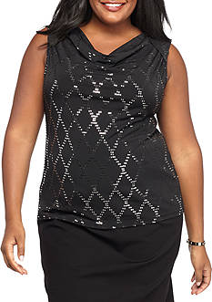 Nine West Plus Size Embellished Jersey Knit Top