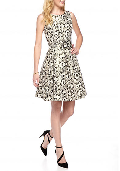 Nine West Gold Jacquard Fit And Flare Dress