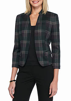 Nine West Plaid Inverted Collar Jacket