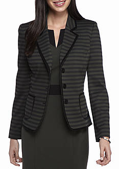 Nine West Striped Ponte Button Jacket