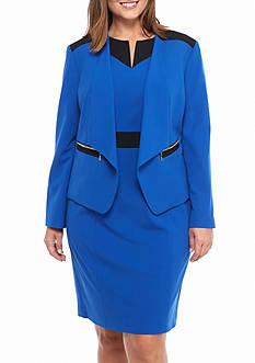 Nine West Color Block Open Front Jacket