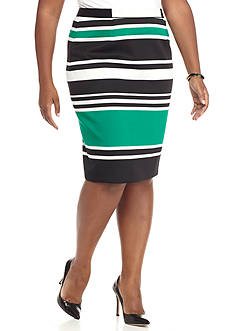 Nine West Plus Size Stripe Scuba KnIt Skirt