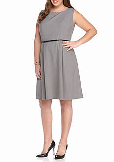 Nine West Plus Size Crepe Fit and Flare Dress