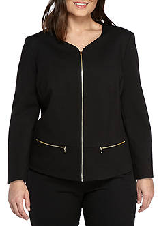 Nine West Plus Size Zip Front Jacket