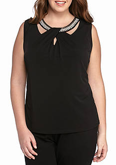 Nine West Plus Size Embellished Sleeveless Knit Top