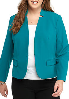 Nine West Plus Size Inverted Collar Jacket