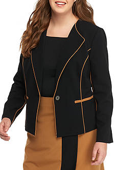 Nine West Plus Size Piped Single Button Jacket