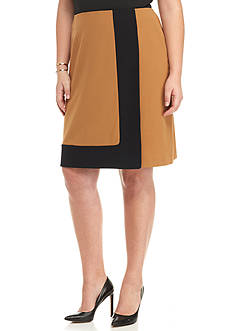 Nine West Plus Size Colorblock A-Line Skirt