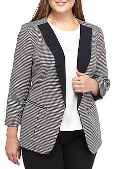 Nine West Plus Size Solid Lapel Jacket