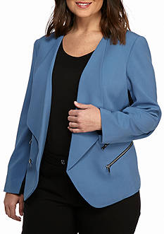 Nine West Plus Size Flyaway Jacket With Zipper Detail