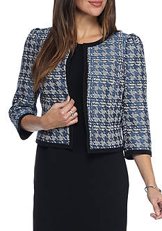 Nine West Houndstooth Open Jacket