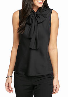 Nine West Solid Bow Blouse