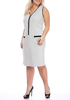 Nine West Plus Size Framed Zip Front Dress