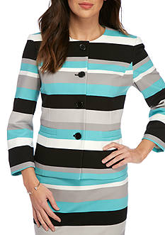 Nine West Four-Button Scuba Striped Jacket