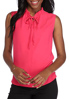 Nine West Solid Ruffle Tie Neck Cami