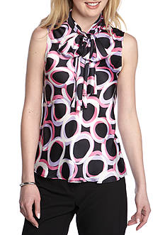 Nine West Printed Tie Neck Sleeveless Top