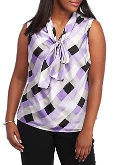 Nine West Plus Size Printed Tie Neck Cami