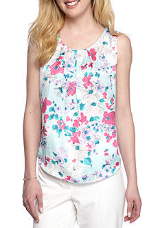 Nine West Printed Pleated Neck Camisole