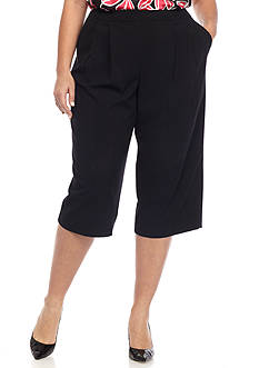 Nine West Plus Size Solid Culotte Pants