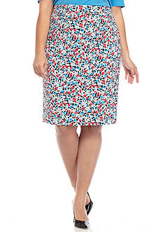 Nine West Plus Size Floral Printed Crepe Skirt