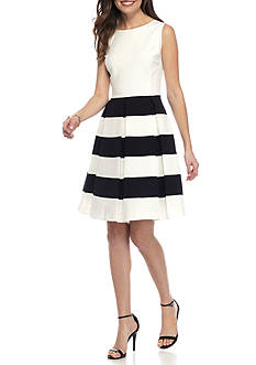 Nine West Fit and Flare Stripe Pleated Dress