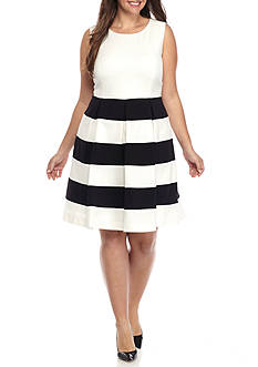 Nine West Plus Size Striped Fit and Flare Dress