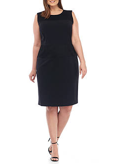Nine West Plus Size Crepe Sheath with Mesh Insets