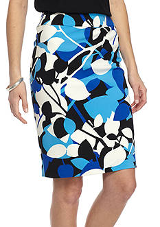 Nine West Printed Slim Crepe Skirt