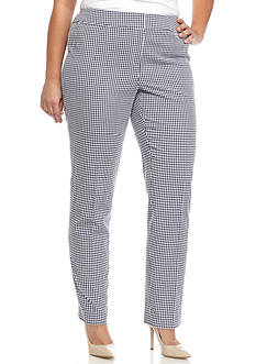 Nine West Plus Size Gingham Pant