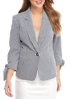 Nine West Gingham One Button Jacket