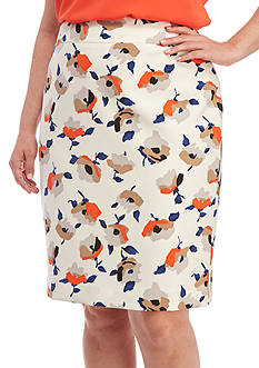 Nine West Plus Size Printed Slim Skirt