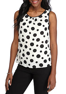 Nine West Dotted Printed Pleated Neck Cami