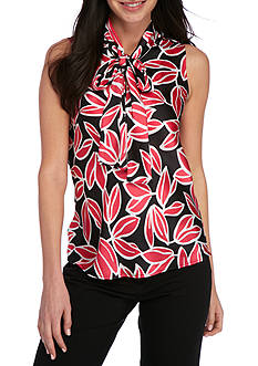 Nine West Charmeuse Printed Tie Neck Cami