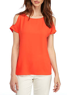 Nine West Solid Cold Shoulder Top
