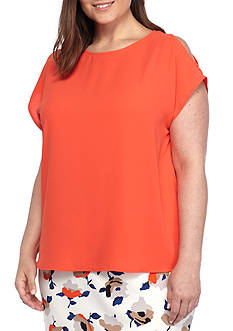 Nine West Plus Size Cold Shoulder Top