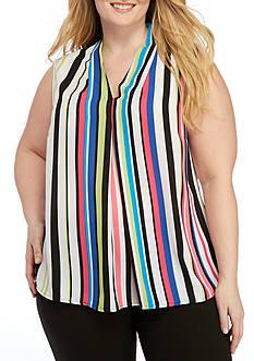 Nine West Plus Size Striped V-Neck Cami
