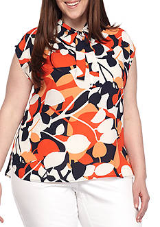 Nine West Plus Size Cap-Sleeve Printed Cami