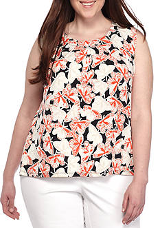 Nine West Plus Size Printed Pleated Neck Cami